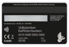 Visa-Metall-Karte Rückseite in schwarz