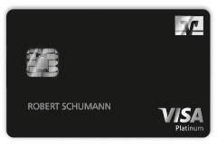 Visa-Metall-Karte Vorderseite in schwarz